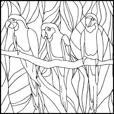 parrots stained glass coloring page