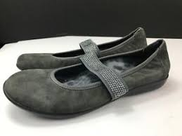 Vionic Fern Gray Suede/ Rhinestone Mary Jane Flats Shoes Comfort Womens  Size 7.5 | eBay