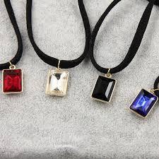multi layer leather choker gem stone