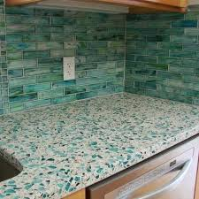 recycled glass counter with tile