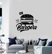 Vinyl Wall Decal Hot Burgers Fast Food Restaurant Kitchen Decor Sticke Wallstickers4you