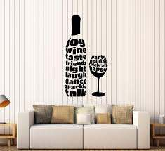 Vinyl Wall Decal Wine Glass Bottle Alcohol Word Bar Stickers Unique Gi Wallstickers4you