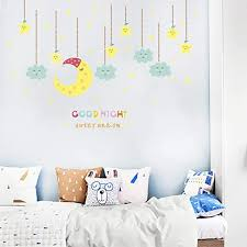 Amazon Com Wall Stickers Children S Room Cartoon Stickersbedroom Bedside Wall Decoration Waterproof Removable Moon Stars Kindergarten Stickers Self Adhesive Murals 25x70cm Kitchen Dining