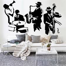 Jazz Wall Decal Saxophone Instrument Tool Band Musical Player Vinyl Removable Wall Sticker Living Room Artistic Decoration Y812 Wall Stickers Aliexpress