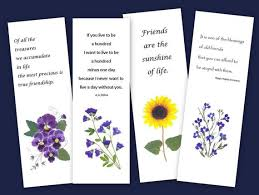set of bookmarks pressed flowers friendship quotes