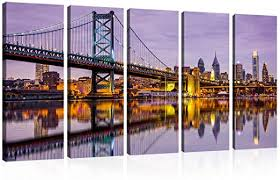 Amazon Com Wall Art Canvas Prints Ben Franklin Bridge And Philadelphia Skyline Under Sunsets Reflections On Water Image Purple New York City Cityscape Ready To Hang 12x32inchx5 Posters Prints