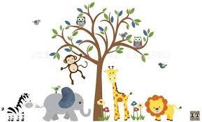 Safari Animal Wall Decal Nursery Wall Decal Boy Room Wall Etsy
