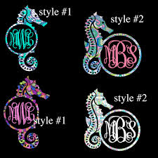 Seahorse Decal Sea Horse Monogram Decal Lilly Inspired Iphone Decal Yeti Decal Tumbler Decal Car Window Decal Our White Cottage