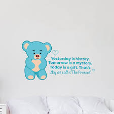 Zoomie Kids Today Is A Gift Cute Bear Life Cartoon Quotes Decors Wall Sticker Art Design Decal For Girls Boys Kid Room Home Decor Wall Art Vinyl 8x10 Inch Wayfair