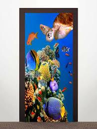 17 Off 2020 3d Sea Turtle Fish Pattern Door Art Stickers In Ocean Blue Dresslily