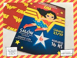 Tarjetas Invitacion Cumple Evento Infantil Mujer Maravilla 181
