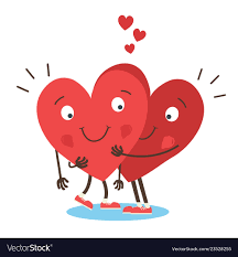 two cute hearts hugging vector image