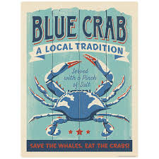 Blue Crab Served Vinyl Sticker At Retro Planet