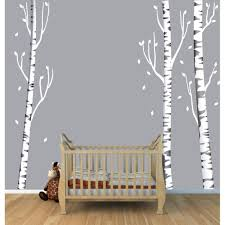 Tree Wall Art With Birch Tree Wall Decals For Kids Rooms
