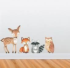 Amazon Com Woodland Creatures Wall Decal Collection Nursery And Children S Room Decor Set Deer Owl Raccoon Fox Handmade