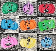 "Hillary Green on Instagram: ""Rainbow Jack-O-Lanterns 🎃 Made by  Kindergarten and Inspired by the work …   Halloween preschool, Jack o  lantern, How to make lanterns"