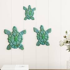 Shop Sea Turtle Wall Art Nautical 3d Metal Hanging Decor Vintage Coastal Seaside Inspired Style By Lavish Home 3pc Overstock 25746736