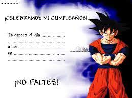Tarjetas De Invitacion A Cumpleanos Dragon Ball Para Enviar A