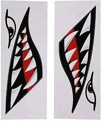 Amazon Com Shark Teeth Mouth Vinyl Decal Stickers Flying Tigers Decals Shark Teeth Stickers For Kayak Canoe Dinghy Boat Sports Outdoors