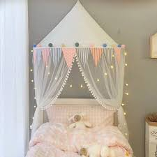 Amazon Com Oldpapa Bed Canopy Lace Mosquito Net With Gauze Curtain Unique Pendant Play Tent Bedding For Kids Playing Reading With Children Round Dome Netting Curtains Baby Boys Girls Room Decoration White Home