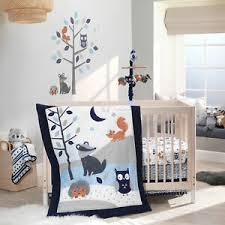 blue gray woodland 3 piece baby crib