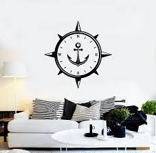 Vinyl Wall Decal Anchor Compass Sea Nautica Travel Wind Rose Stickers Wallstickers4you