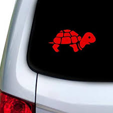 Amazon Com Stickany Car And Auto Decal Series Turtle Resting Sticker For Windows Doors Hoods Red Automotive