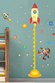 Look At These Rocket Themed Decorations That Will Inspire You To Create Unique And Creative Kids Bedro Kids Room Wall Murals Kids Wall Murals Kids Room Murals