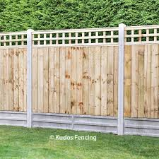 Trellis Top Closeboard Panels With Concrete Posts Gravel Boards