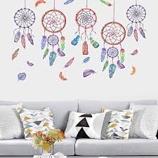 Amazon Com Yinasi Dream Catcher Wall Stickers Diy Removable Stickers With Colorful Feathers Vinyl Wall Decals Arts For Kids Bedroom Living Room Wall Decor Home Kitchen
