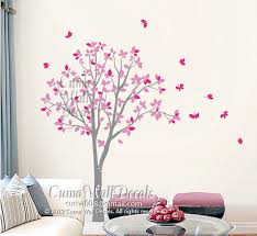 Vinyl Wall Decals Pink Tree Owl And Cuma Wall Decals