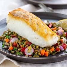 Pan-Roasted Halibut Recipe with Lentil ...
