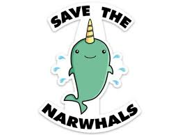 Save The Narwhals Funny Whale Sticker Decal 4 X 3 1 For Laptop Water Bottle Phone Car Newegg Com