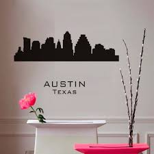 Large Black Muursticker Austin Texas Wall Sticker City Silhouette Adhesive Living Room Vinyl Removable Wall Decal Home Decor Wall Stickers Aliexpress