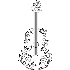 Guitar With Floral Details On The Wall Best Deals With Free Uk Standard Delivery Mizzli