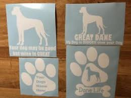 Great Dane Dane Life Paw Print Bone Decal Outdoor Car Natural Ears Combo Pack Ebay