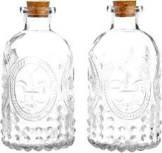 embossed clear glass bottles