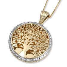 14k gold and diamond circular tree of