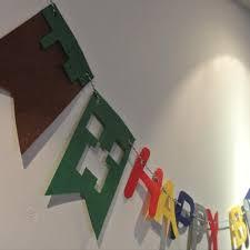 Felt Birthday Flag Minecraft Banner Kids Baby Birthday Party Kid Room Feltify