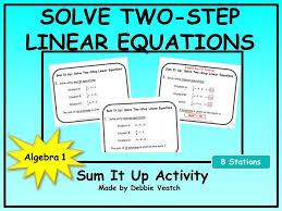 solve two step linear equations sum it