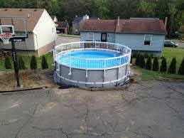Safety Fence Added To Intex Ultra Frame With A Little Tweaking Pool Fence Diy Swimming Pool Intex Swimming Pool