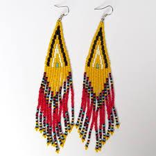 african zulu beaded earrings long