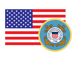 American Flag With Coast Guard Emblem Uscg Logo Vinyl Decal Sticker For Cars Trucks Laptops Etc 3 22x5 Morale Tags