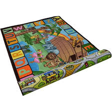 Double Sided Kids 5x7 Play Mat Rugs For Boys Girls Kids Play Room Bedroom Fun Gift Noah S Arc Animal Abc City Map Road Rug Carpet Walmart Com Walmart Com