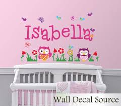 Monogram Wall Decal Owl Wall Decal Flower Wall Decal Etsy