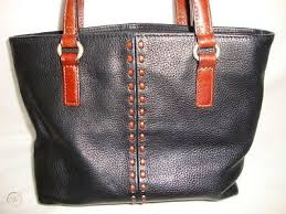 fossil black leather tote bag purse
