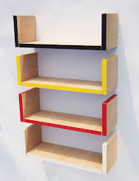 ... Wall Mount Book Shelf Exceptional Image Inspirations Ideas Modern Red  Yellow And White U Shaped Mounted ...