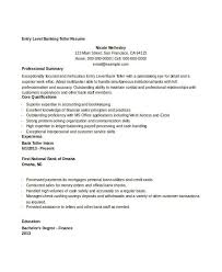 Entry Level Banking Resumes Sample Resume For Bank Teller At Entry Level Free Banking Resumes 43