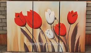 >handpainted abstract white and red tulip painting 3 piece flower  handpainted abstract white and red tulip painting 3 piece flower wall decor canvas art modern oil