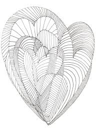 Hearts Abstract Doodle Zentangle Coloring Pages